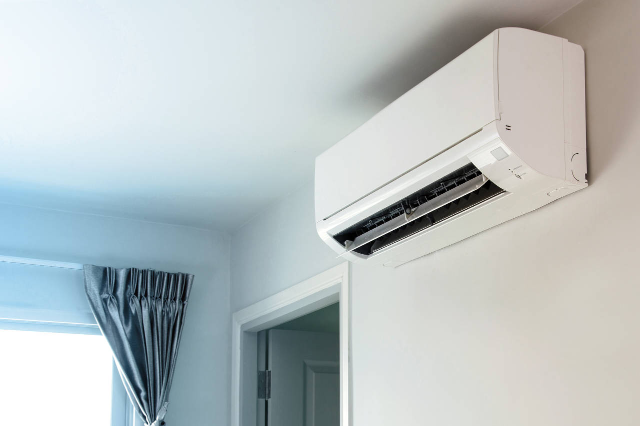 ductless mini-split unit mounted to wall
