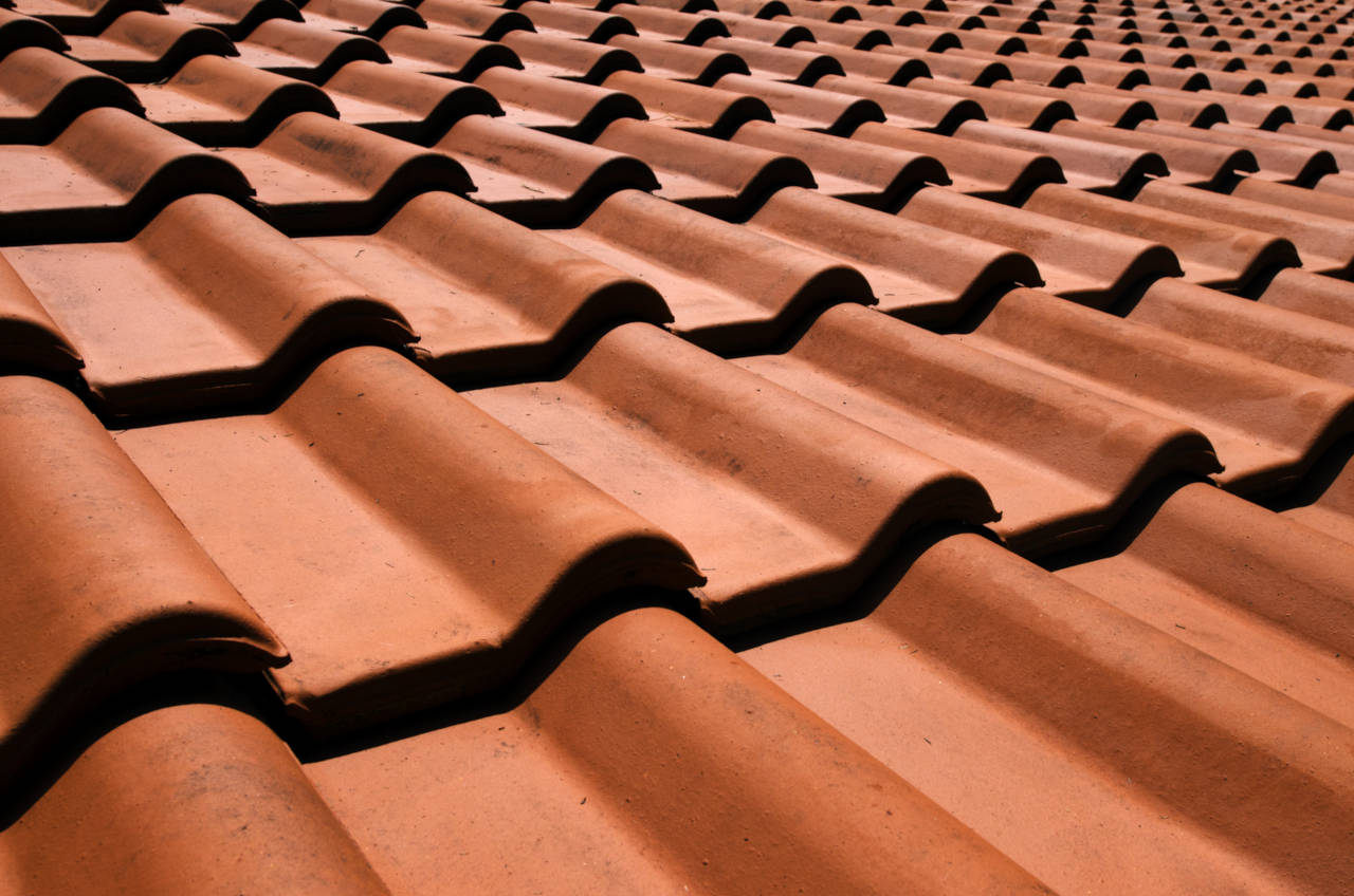 Roof installed with clay tiles