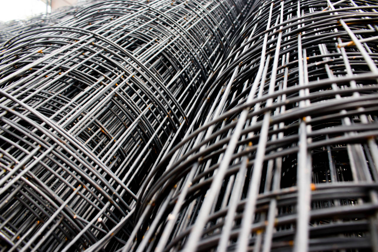 Rolls of wire mesh used to reinforce concrete