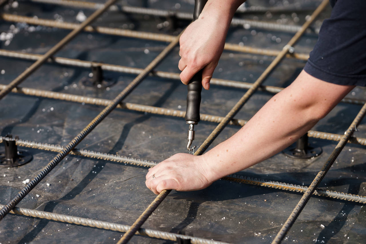 Rebar installed in a grid pattern to reinforce concrete slabs and prevent cracking