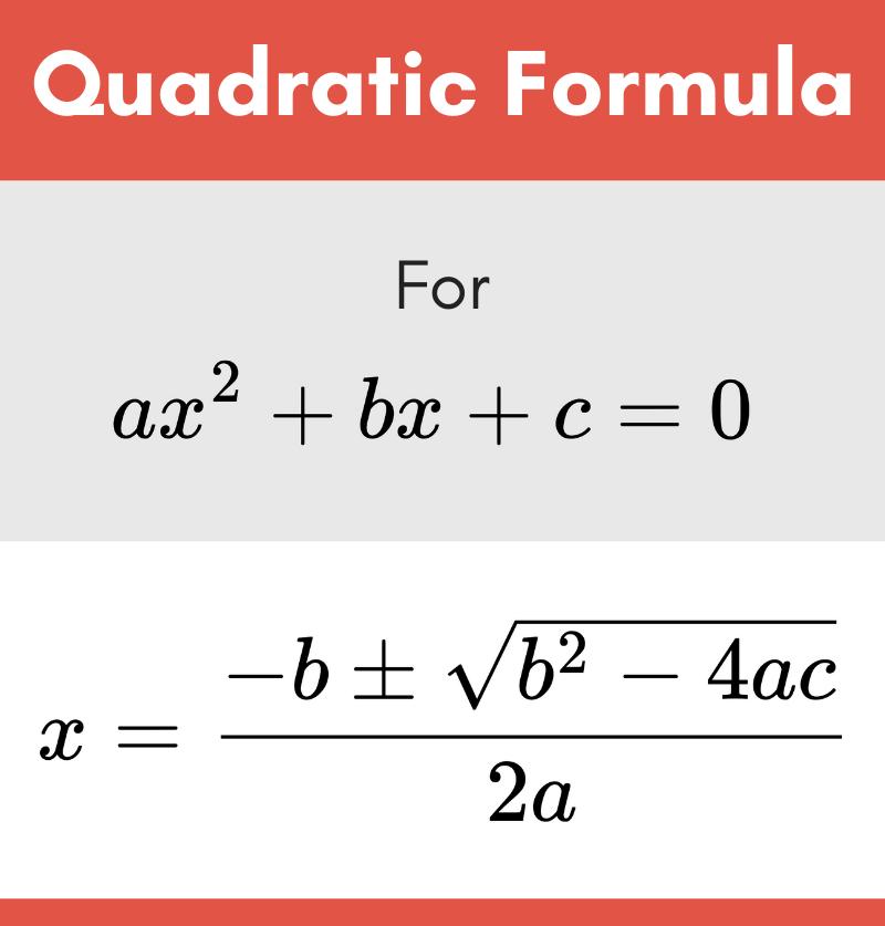 Quadratic formula used to solve quadratic equations
