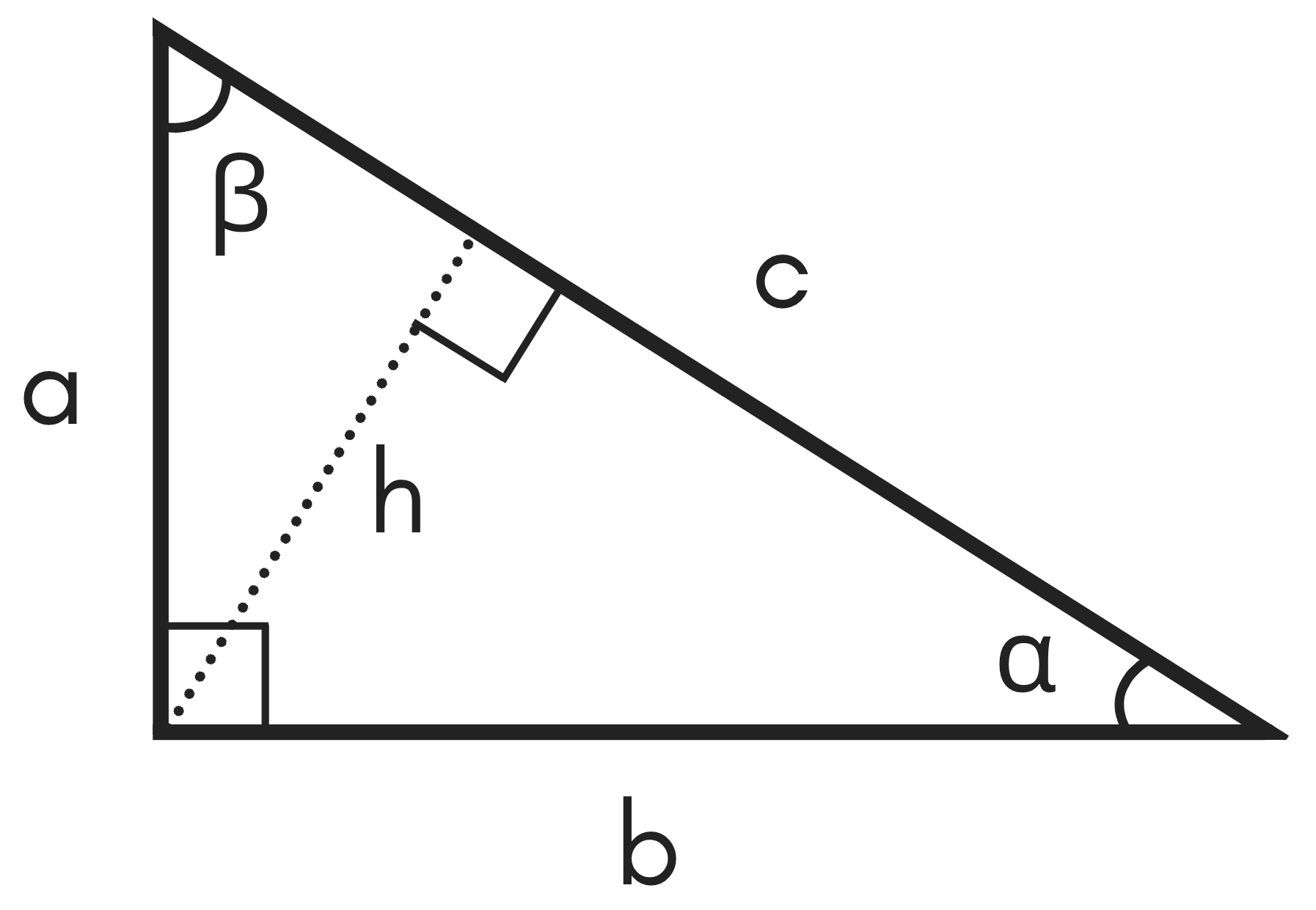 diagram of a right triangle showing legs a and b, hypotenuse c, angles alpha and beta, and height h