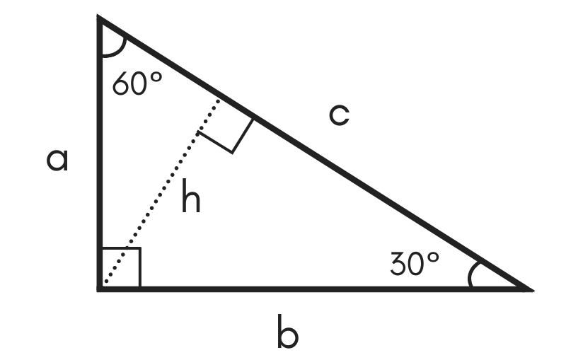 diagram of a special right 30 60 90 triangle showing legs a and b, hypotenuse c, 30 & 60 degree angles, and height h