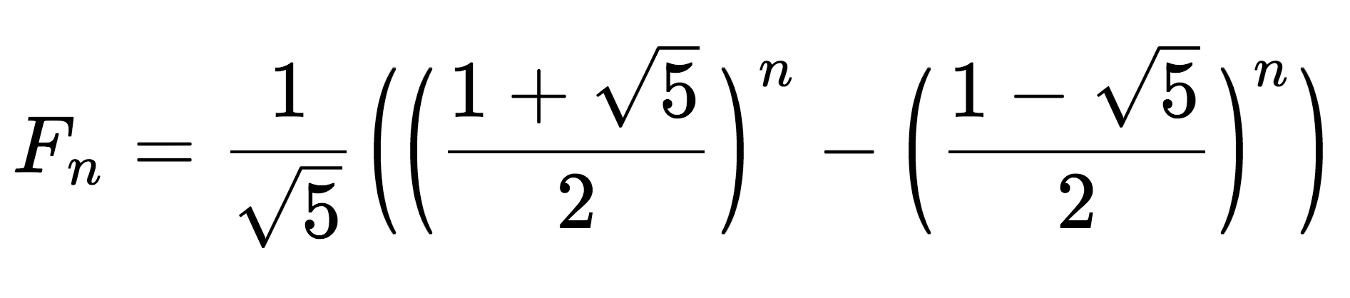 mathematical representation of Binet's formula, which is used to solve the nth term in the Fibonacci sequence