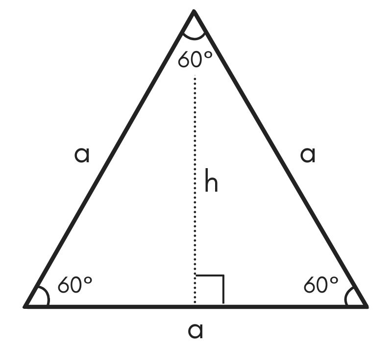 diagram of an equilateral triangle showing the sides, angles, and height
