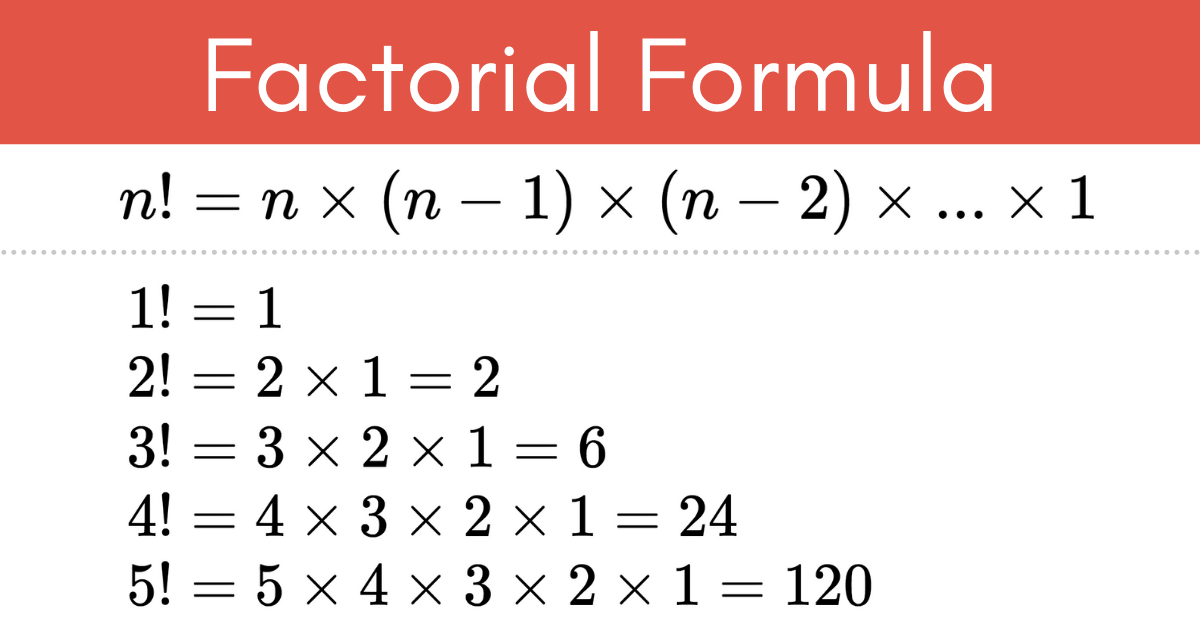 The formula to solve a factorial, including examples to solve the factorial for numbers 1, 2, 3, 4, & 5