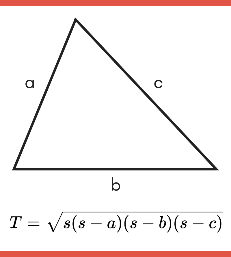 Diagram showing how to use Heron's formula to solve the area of a triangle
