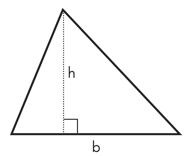diagram of a triangle showing base b and height h