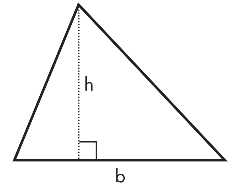 diagram of a triangle showing height h and base b
