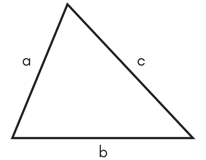 diagram of a triangle showing three sides used to solve perimeter