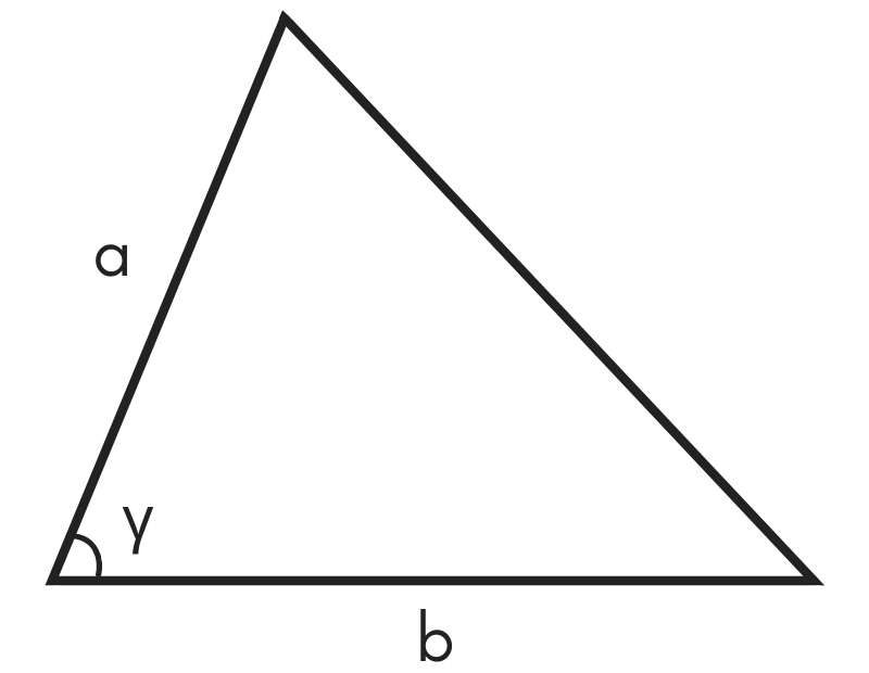 diagram of a triangle showing sides a & b and angle gamma