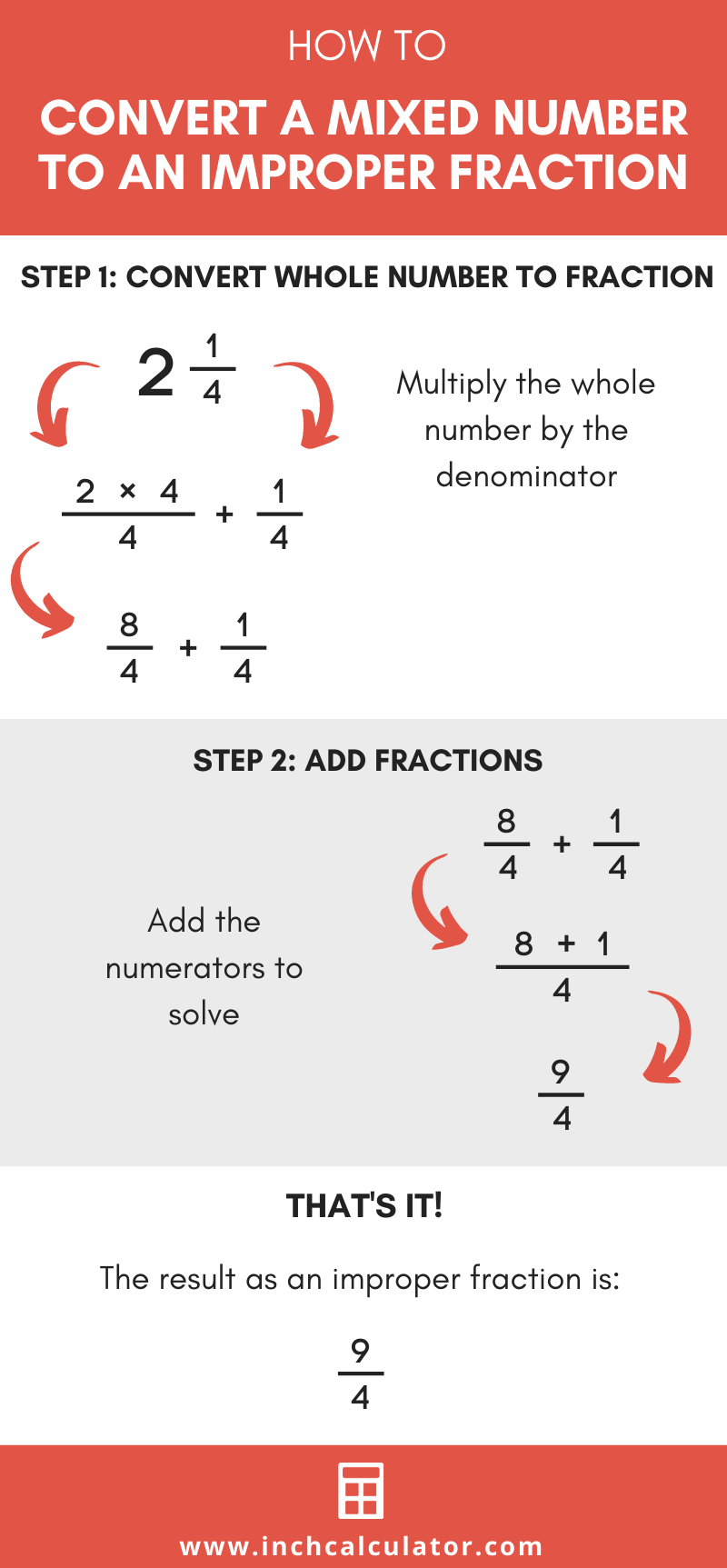 Share mixed number to improper fraction calculator