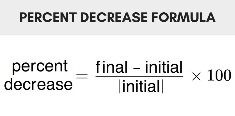 Formula showing how to calculate percent decrease