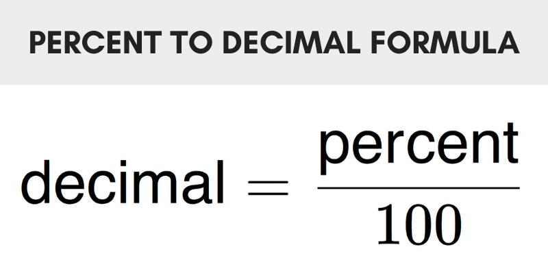 Formula to convert a percentage to decimal