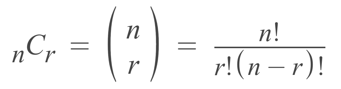 formula showing that the number of combinations is equal to n factorial divided by r factorial times n minus r factorial