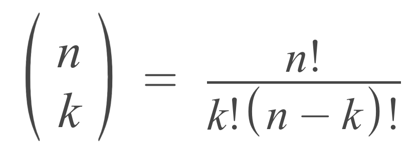 n choose k formula showing that the number of combinations is equal to n factorial divided by k factorial times n minus k factorial