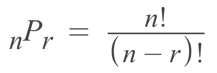 formula showing that the number of permutations is equal to n factorial divided by n minus r factorial