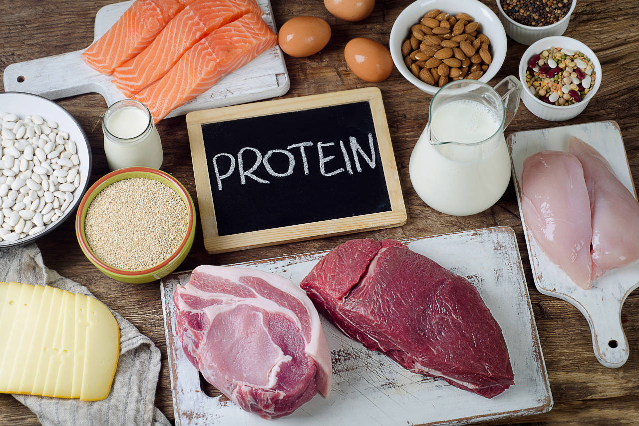 plate of foods that are high in protein, including lean red sirloin, chicken, salmon, and eggs