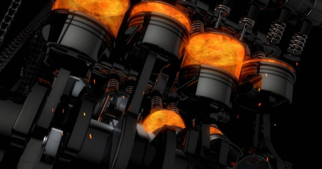 internal combustion engine with pistons moving