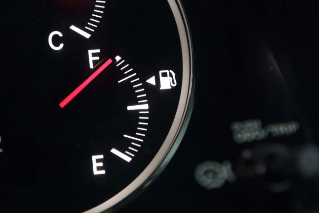fuel gauge showing a full tank of gas