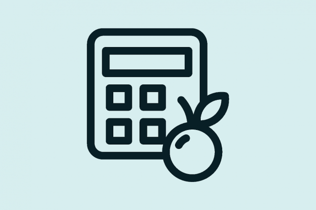 graphic showing a calculator and food icon