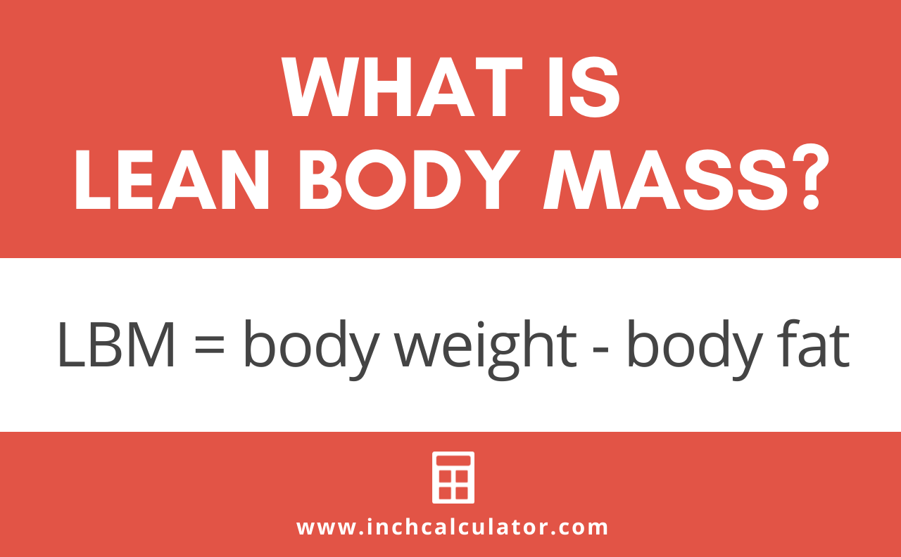 Formula showing that lean body mass is equal to body weight minus body fat.